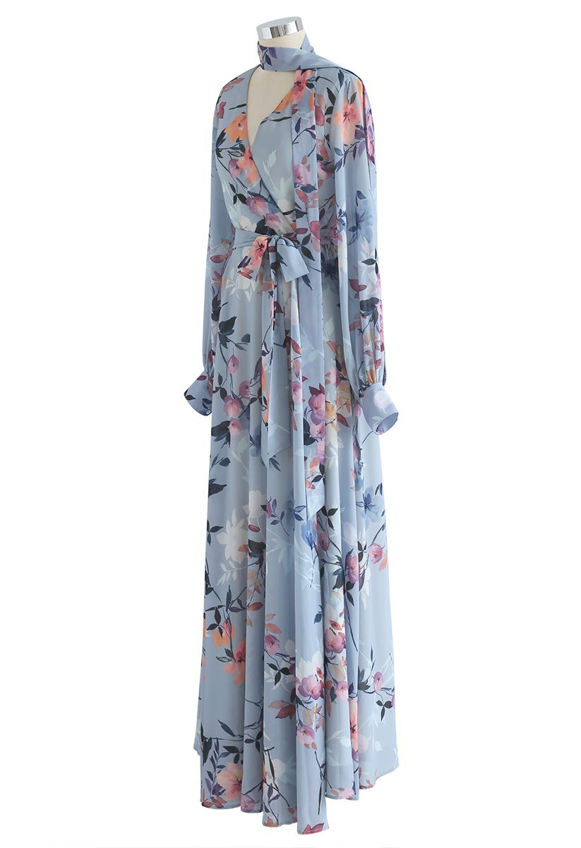 Floral Endearment Chiffon Maxi Dress in Blue