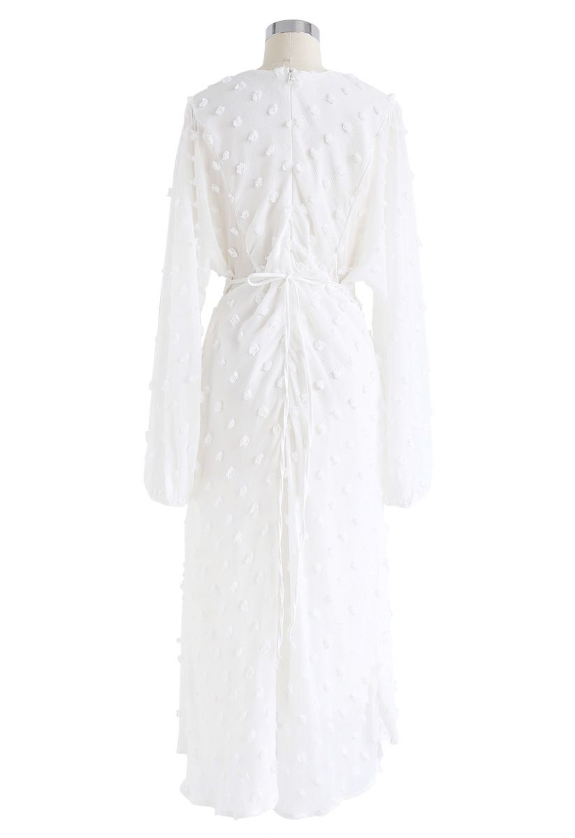Vestido largo transparente de algodón de azúcar en blanco