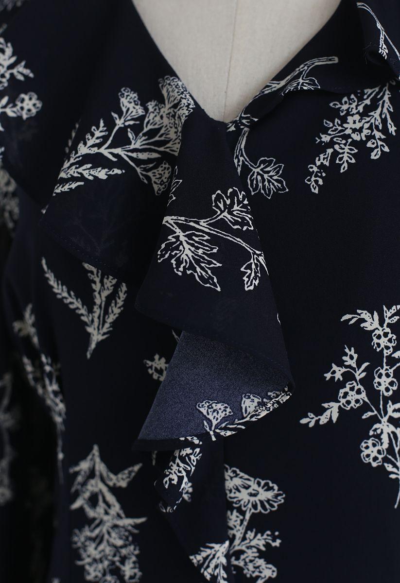 Vestido de gasa estampado Aplenty de Plants en azul marino
