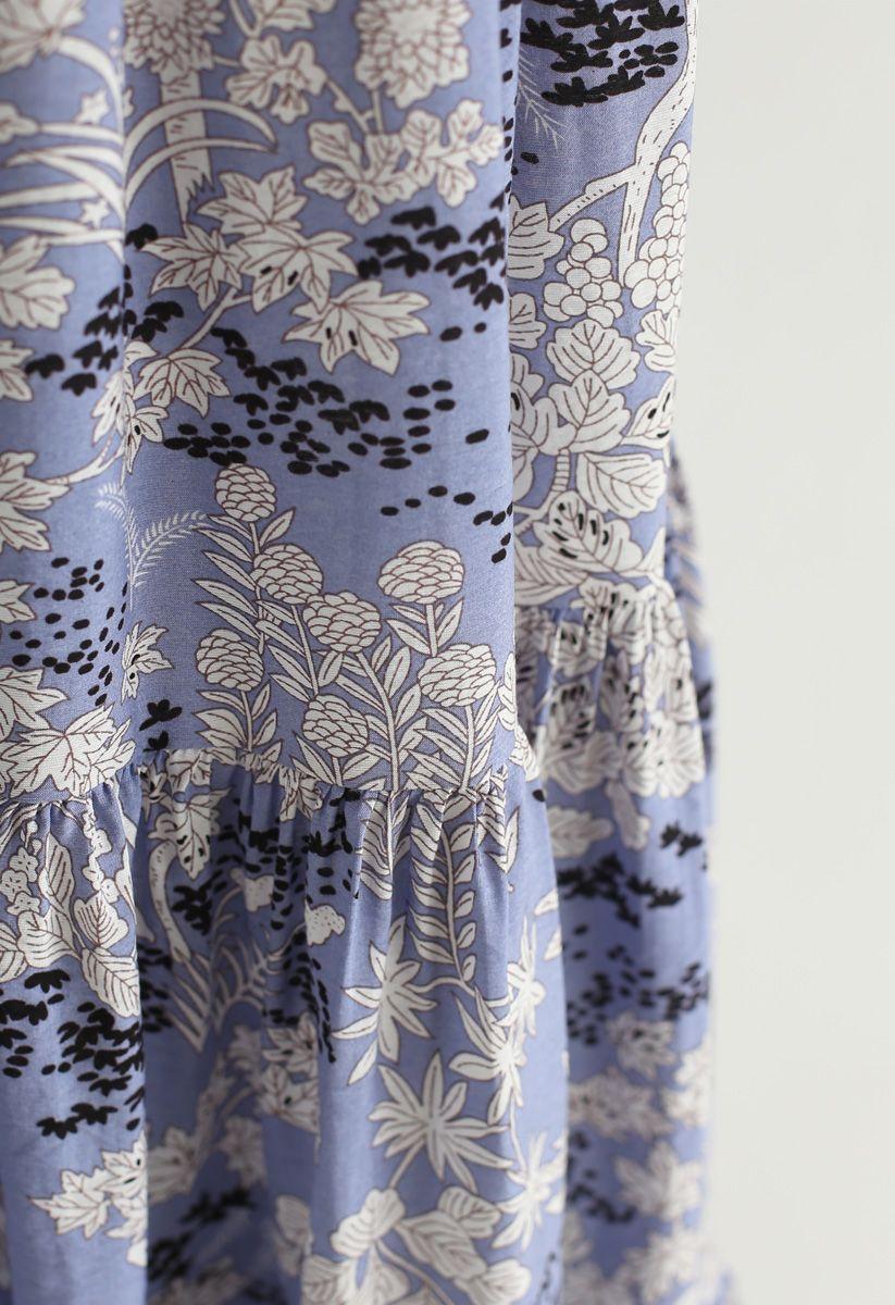 Vestido largo de gasa cruzado en azul hada de Plant Fairyland