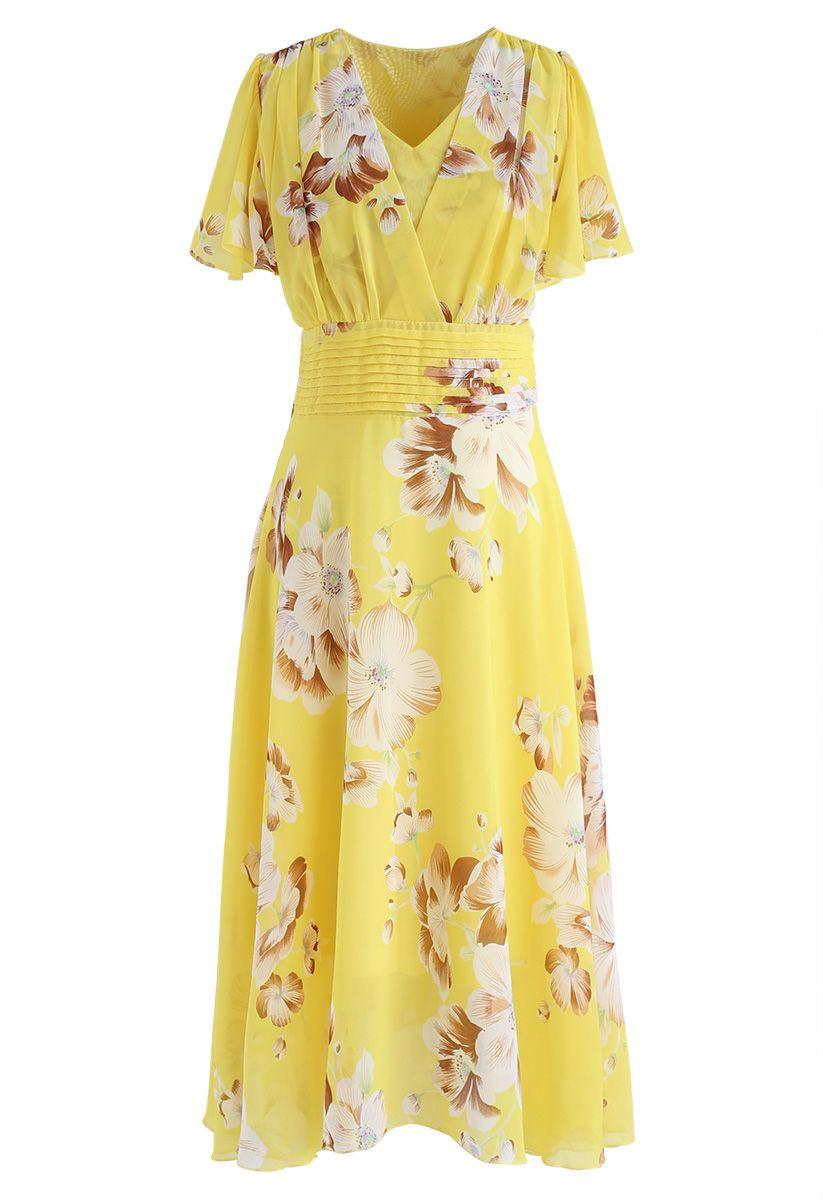 Vestido de gasa floral Sweet Surrender en amarillo