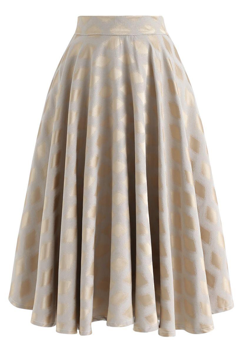Falda midi estampada con diamantes en dorado