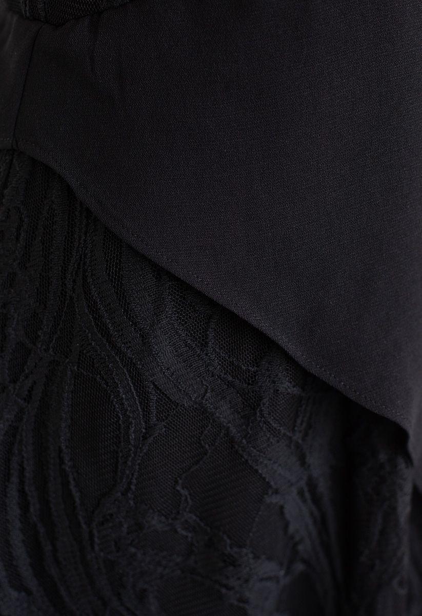 Vestido sin mangas asimétrico de gasa de encaje en negro