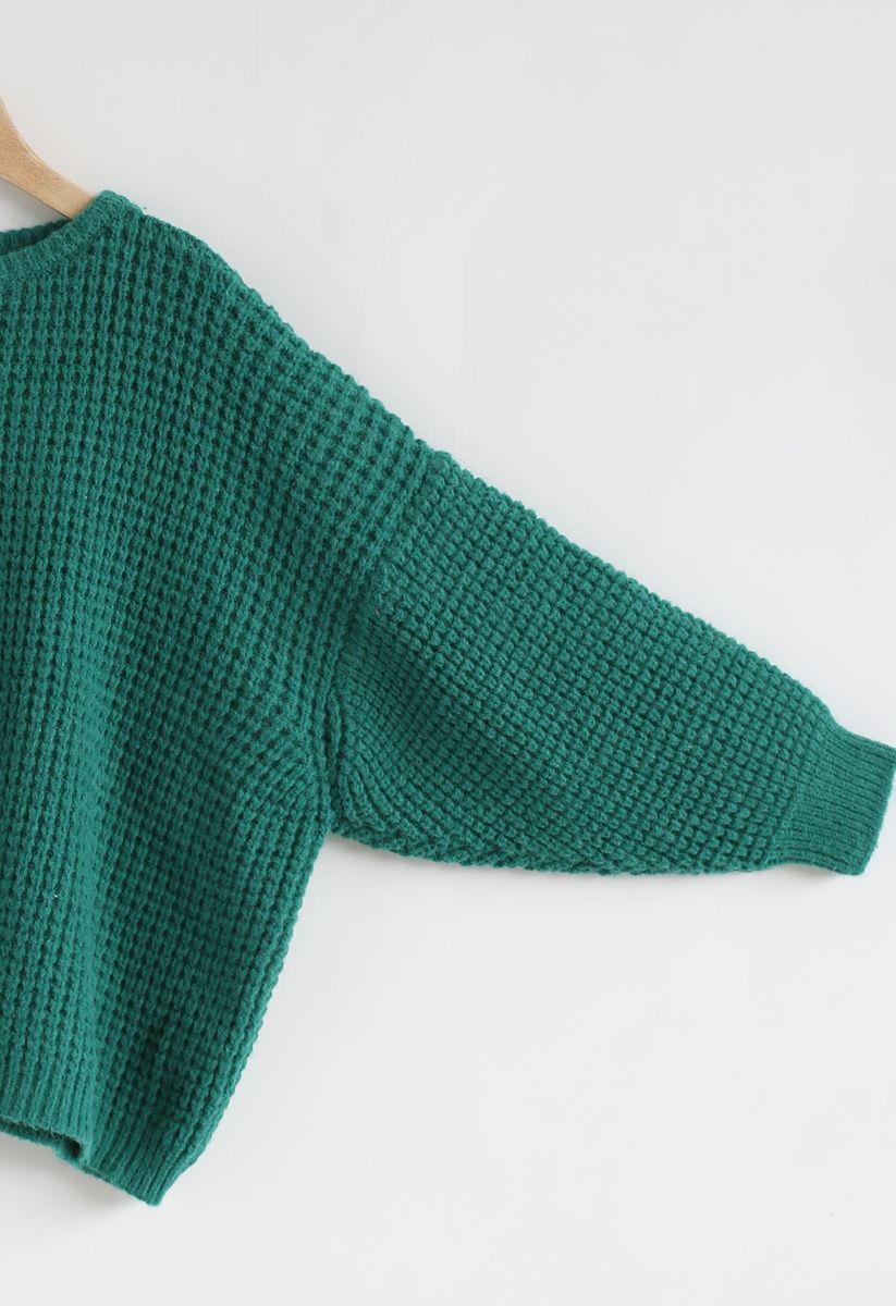 Puff Sleeves Oversize Waffle Knit Sweater in Teal