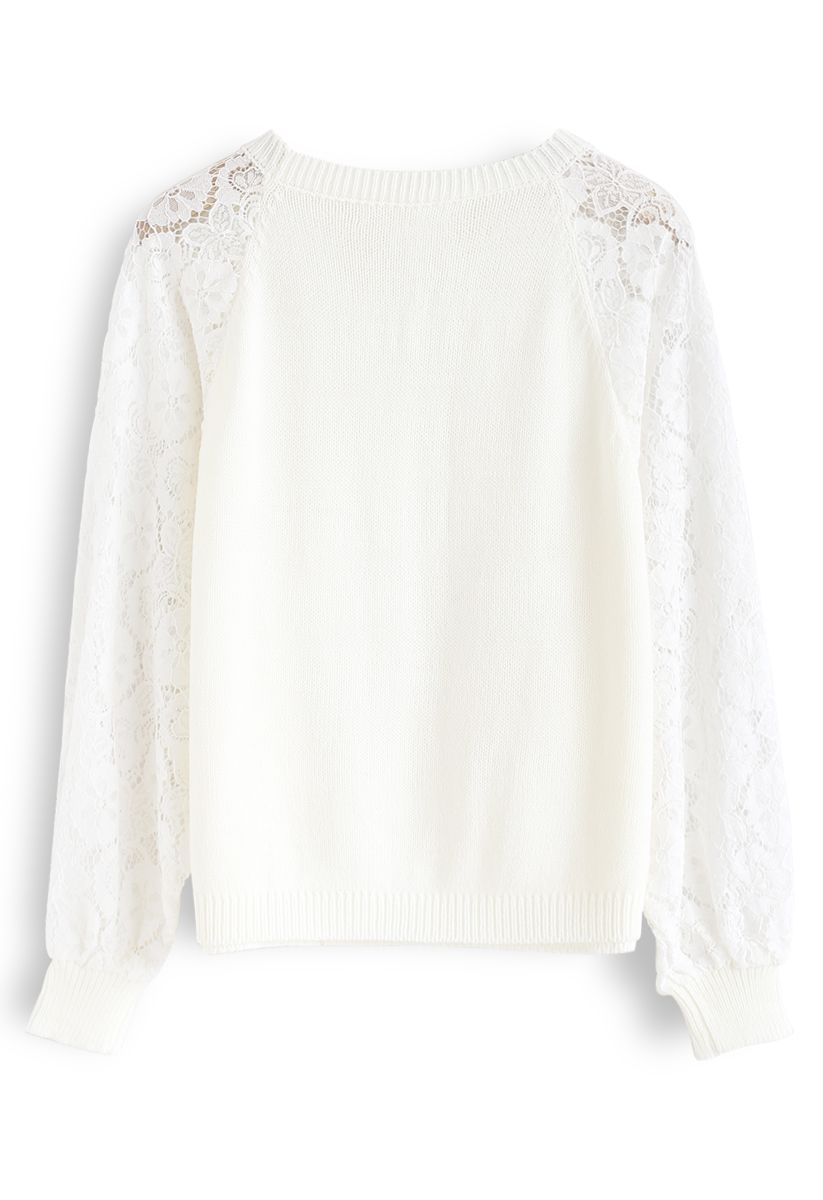 Floral Lace Sleeves Knit Sweater in White