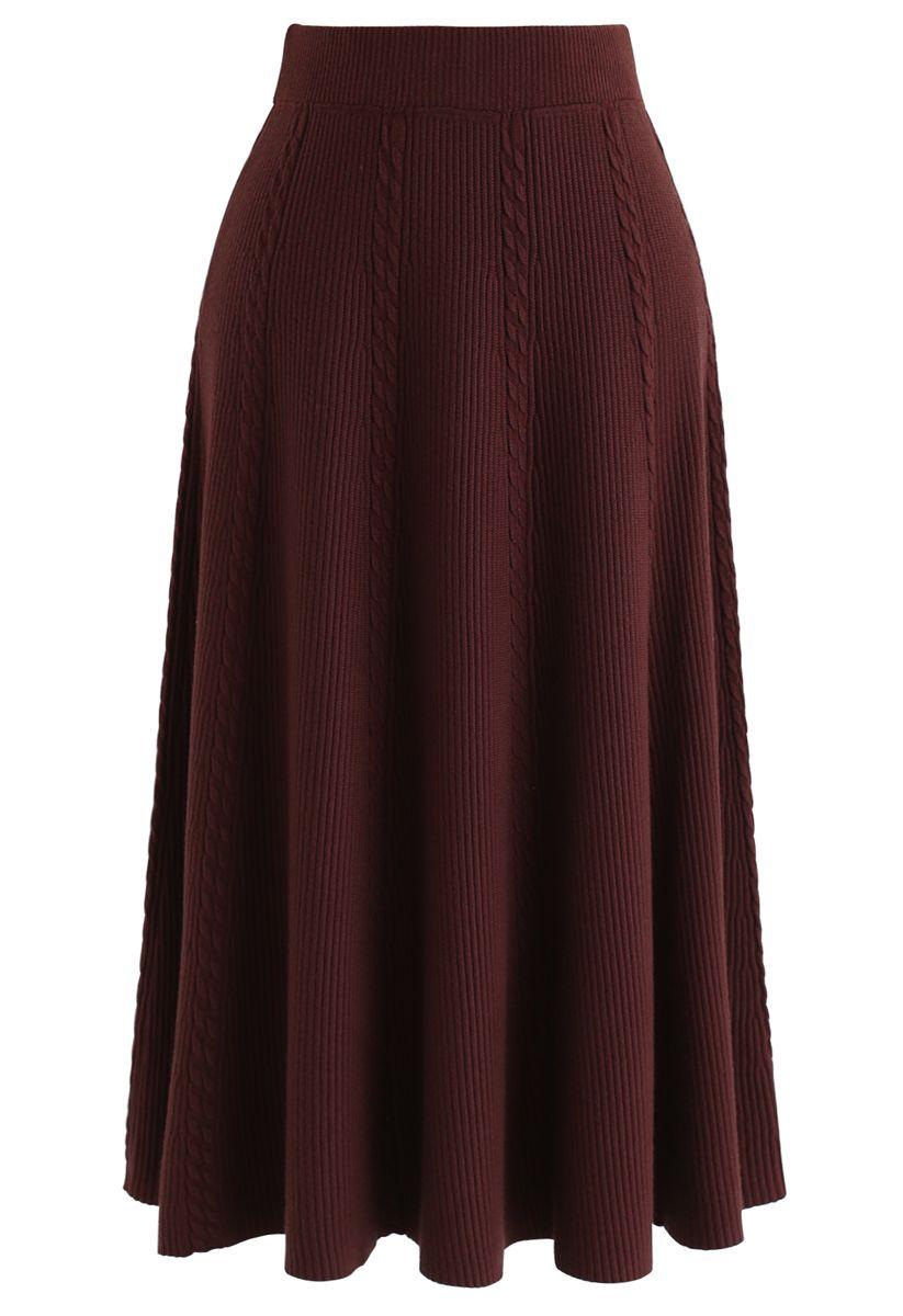 Braid Texture A-Line Knit Midi Skirt in Caramel