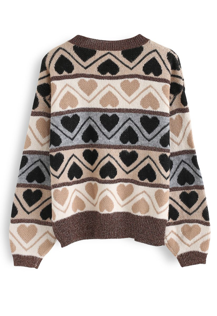Heart Print Fluffy Soft Knit Sweater