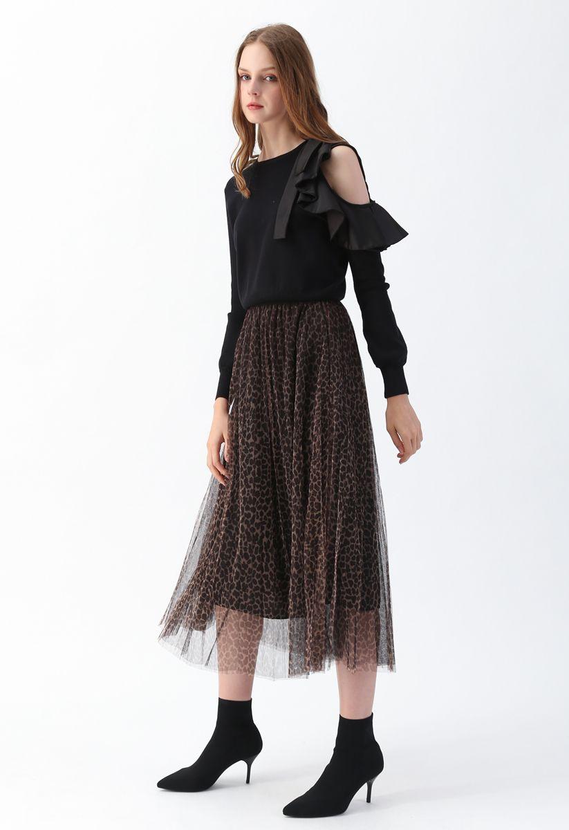Falda plisada de tul de malla de doble capa con estampado de leopardo