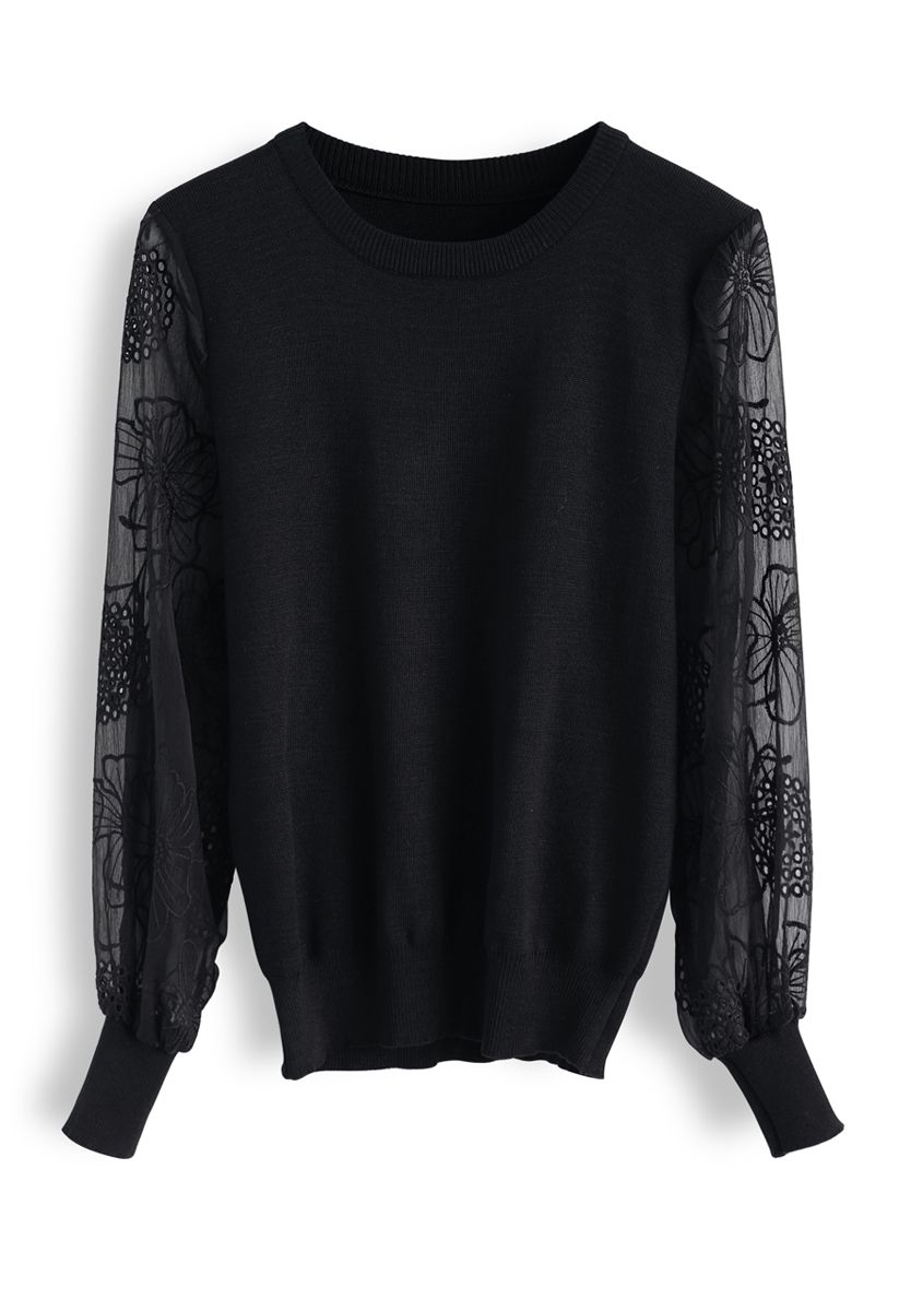Floral Embroidered Sheer Sleeves Knit Sweater in Black