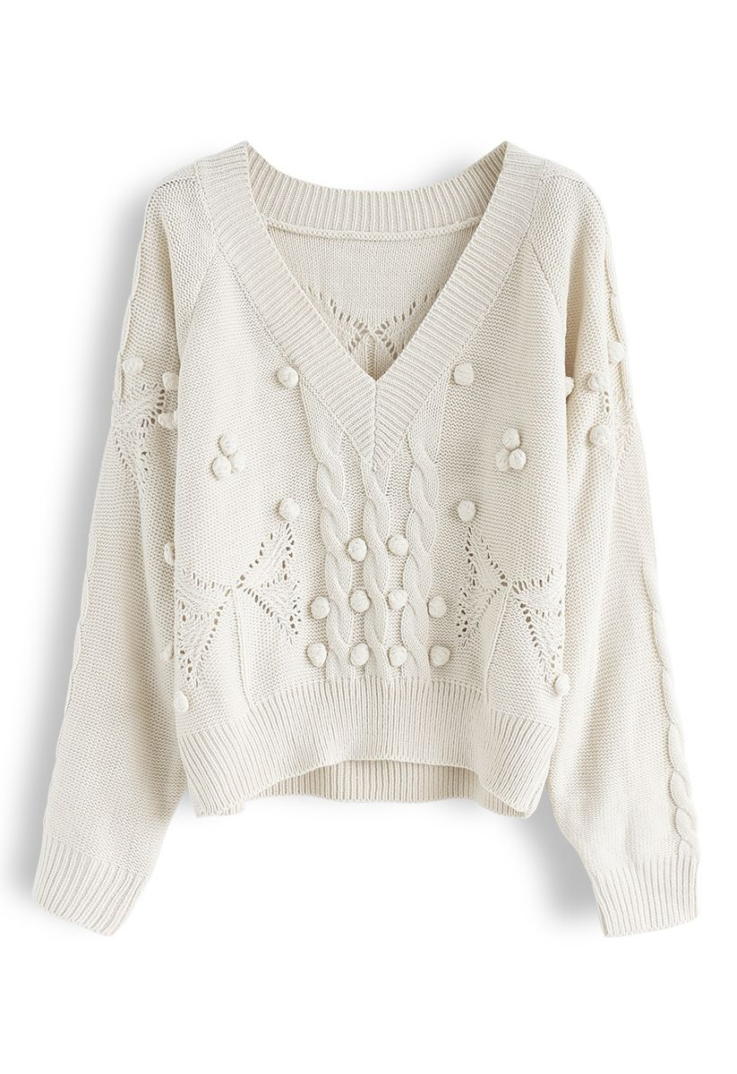 V-Neck Pom-Pom Cable Knit Sweater in Ivory