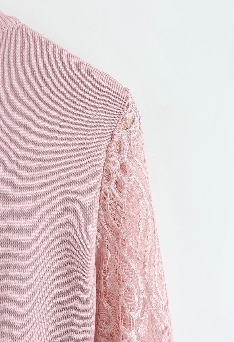 Delicacy Lacy Sleeves Knit Sweater in Pink