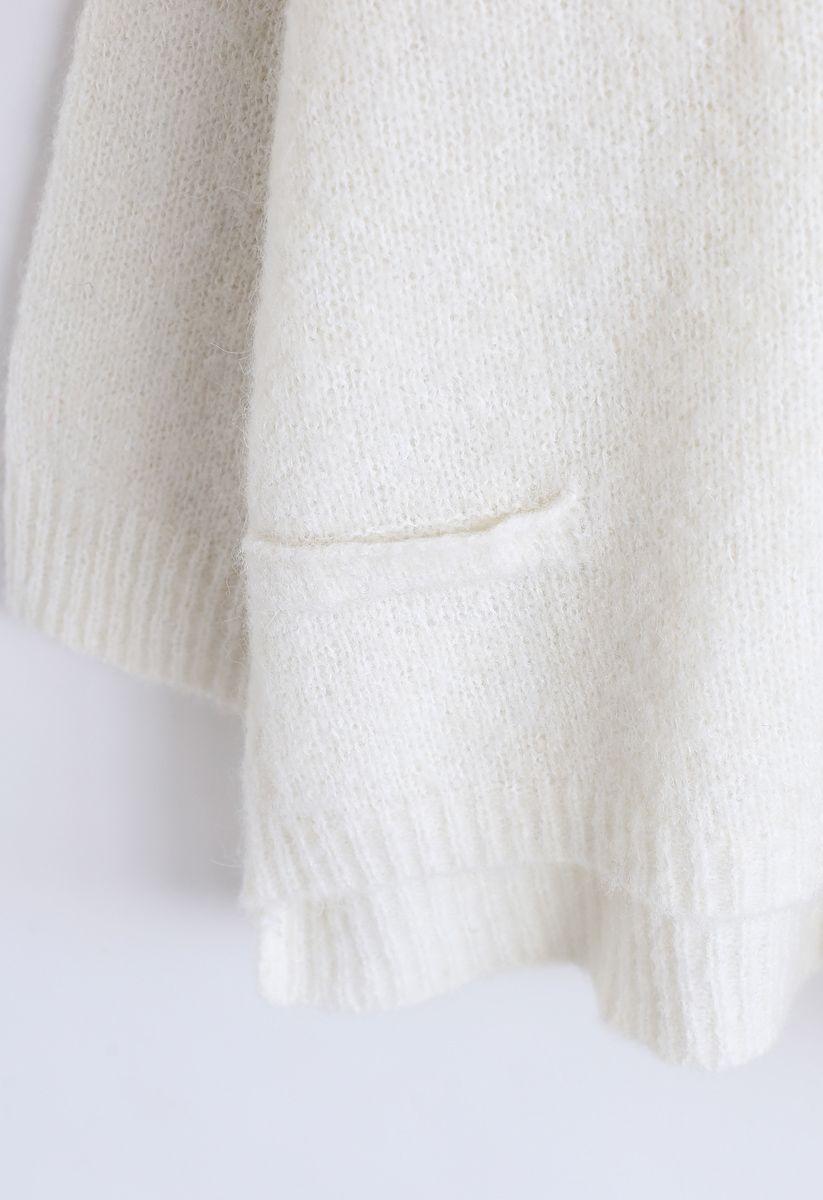 Hi-Lo Hem Oversize Knit Sweater in White