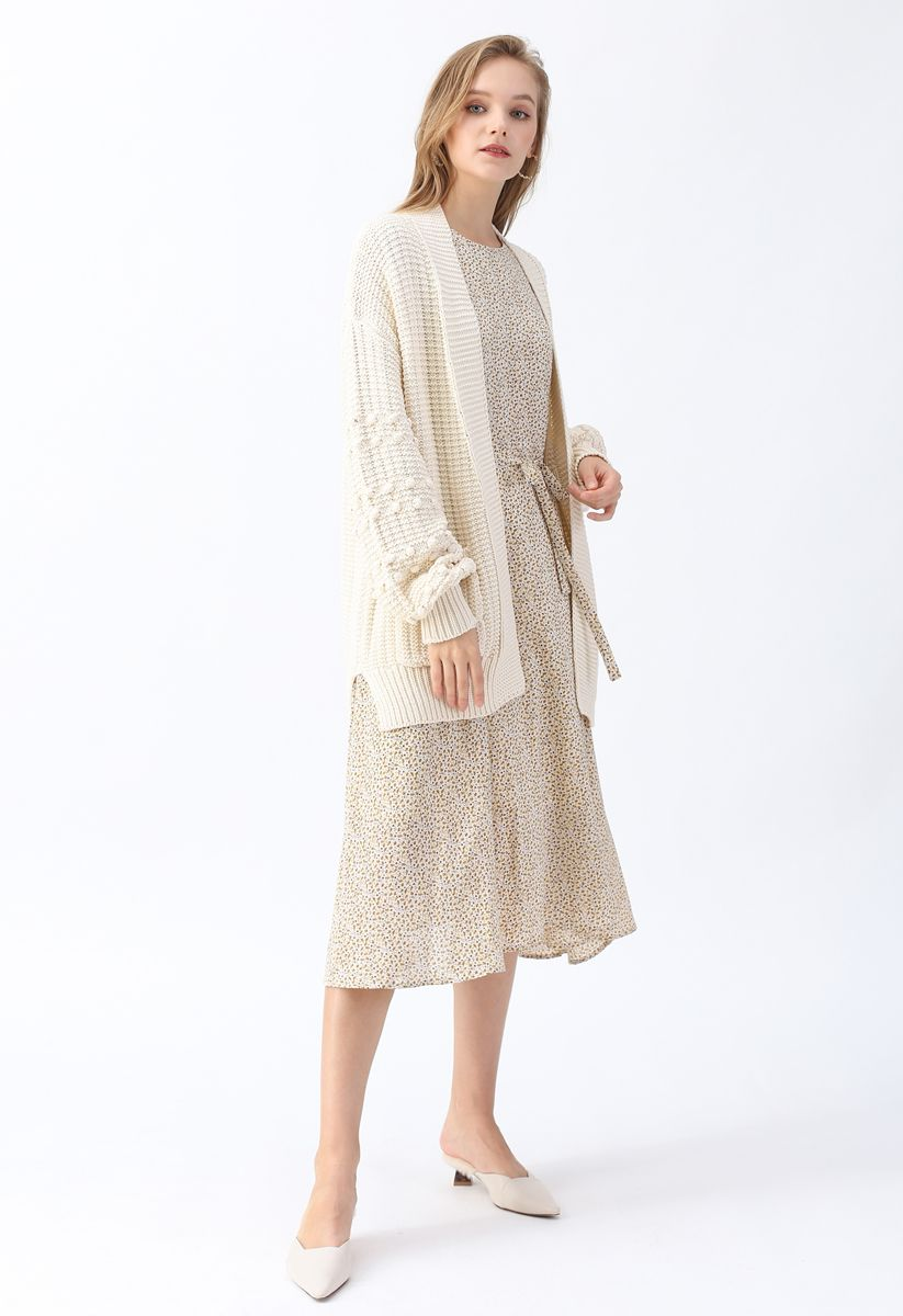 Bubble-Sleeve Pockets Cardigan with Pom-Pom Detail in Ivory