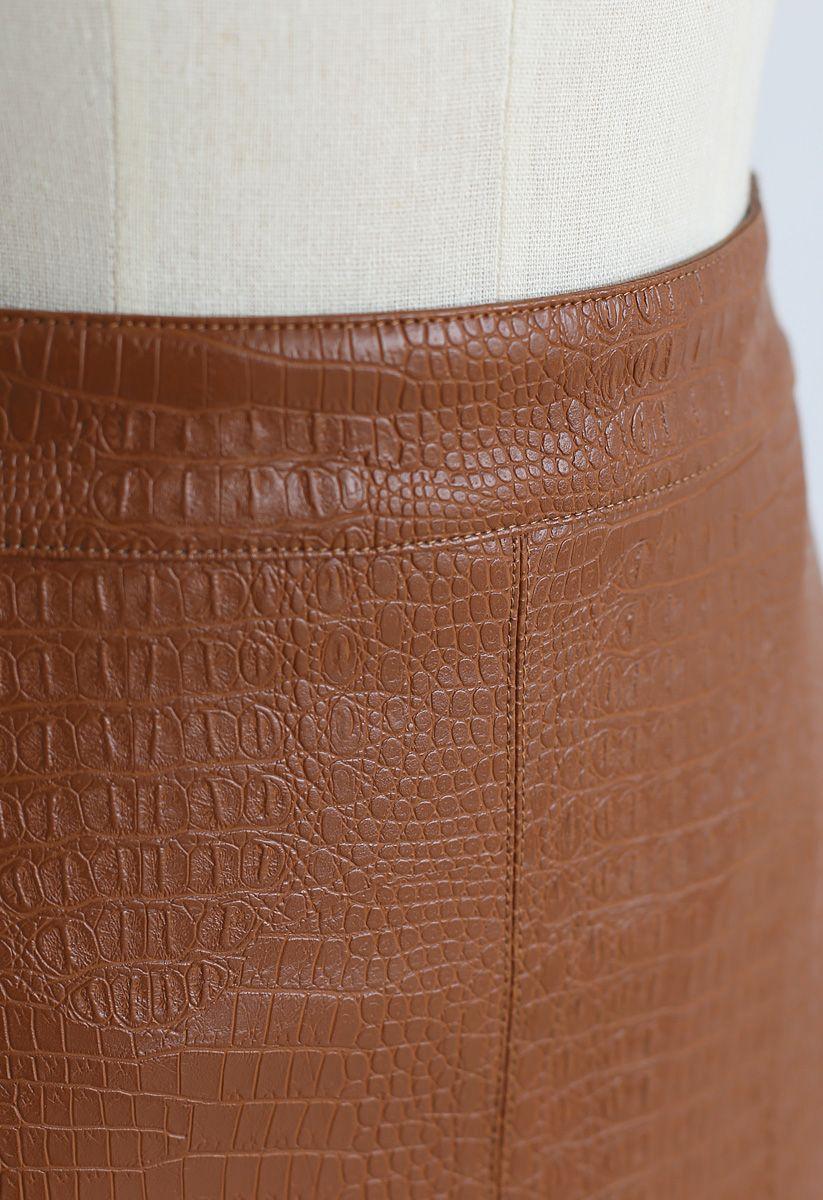 Crocodile Print Faux Leather Skirt in Caramel