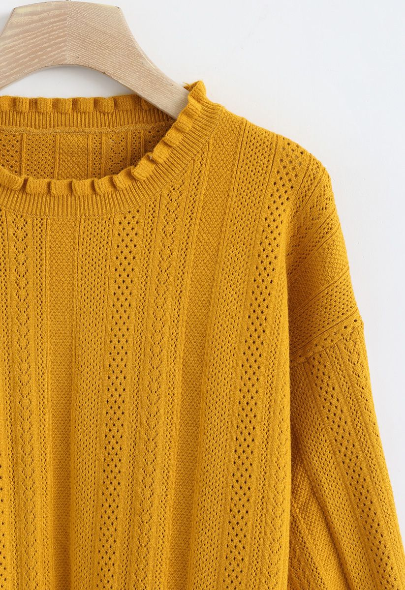 Eyelet Trim Frilling Neck Knit Sweater in Mustard