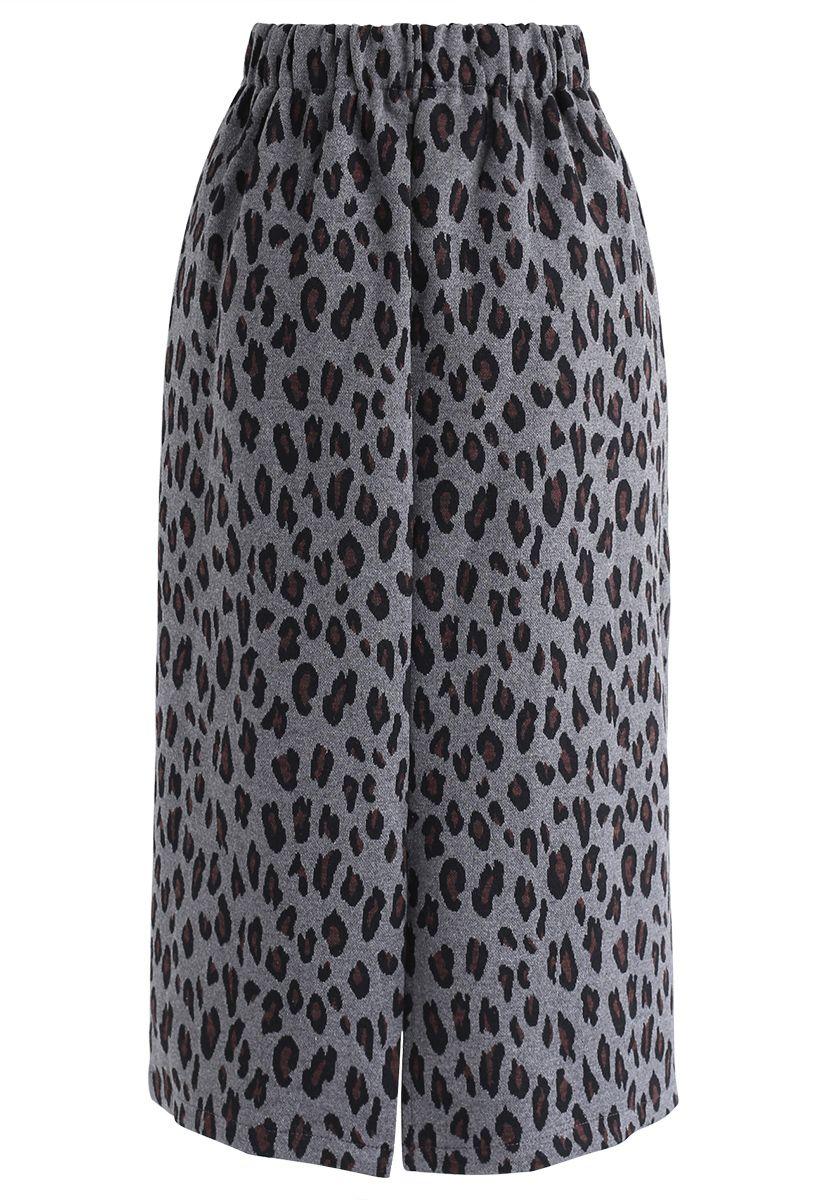 Tender Leopard Knit Pencil Midi Skirt in Smoke