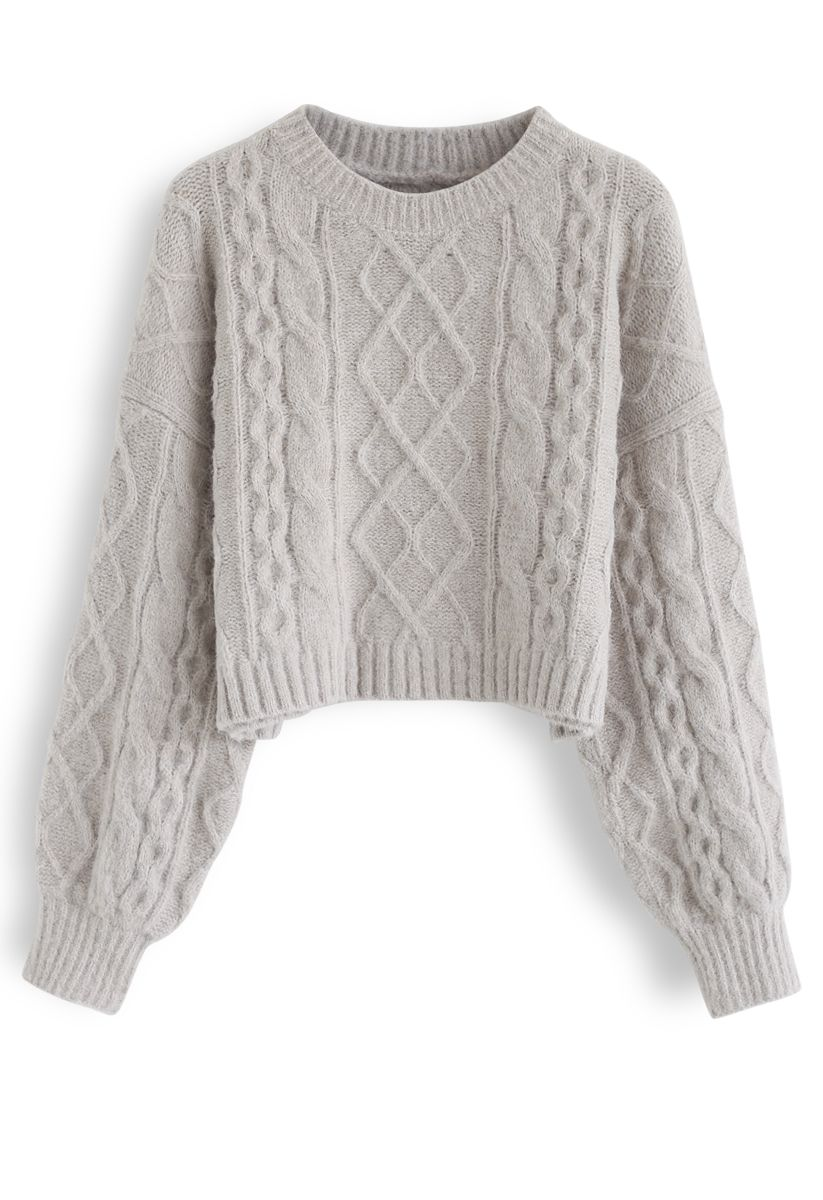 Cable Knit Fluffy Crop Sweater in Sand