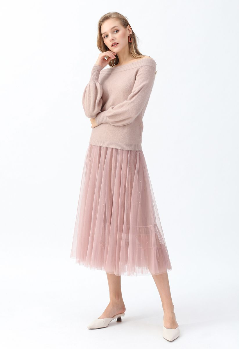 Puff Sleeves Off-Shoulder Fluffy Knit Sweater in Dusty Pink