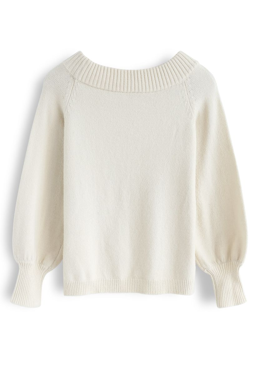 Puff Sleeves Off-Shoulder Fluffy Knit Sweater in Cream
