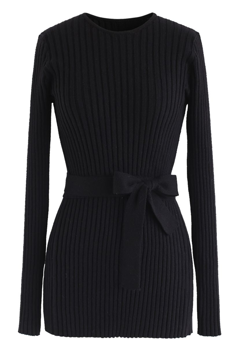 Neat Open-Back Ribbed Knit Sweater in Black