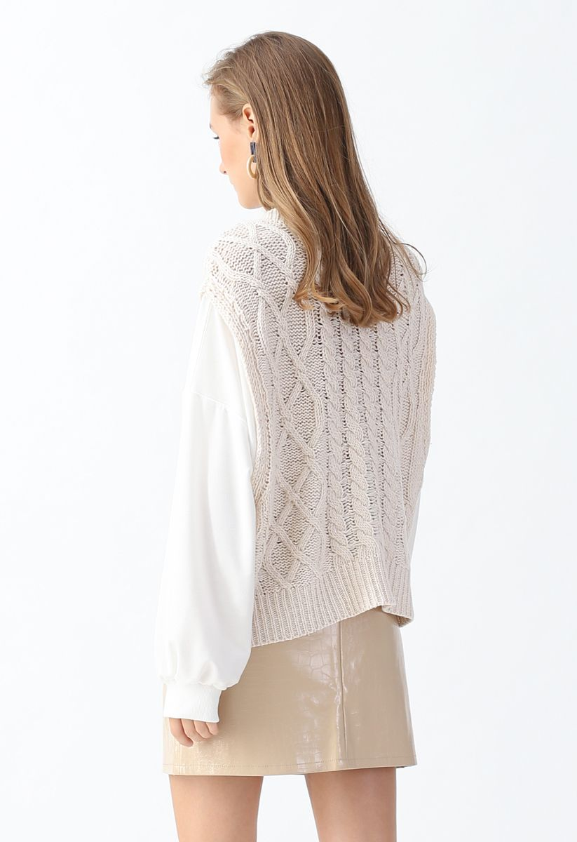 Braid Texture Spliced Sleeves Knit Sweater in Cream