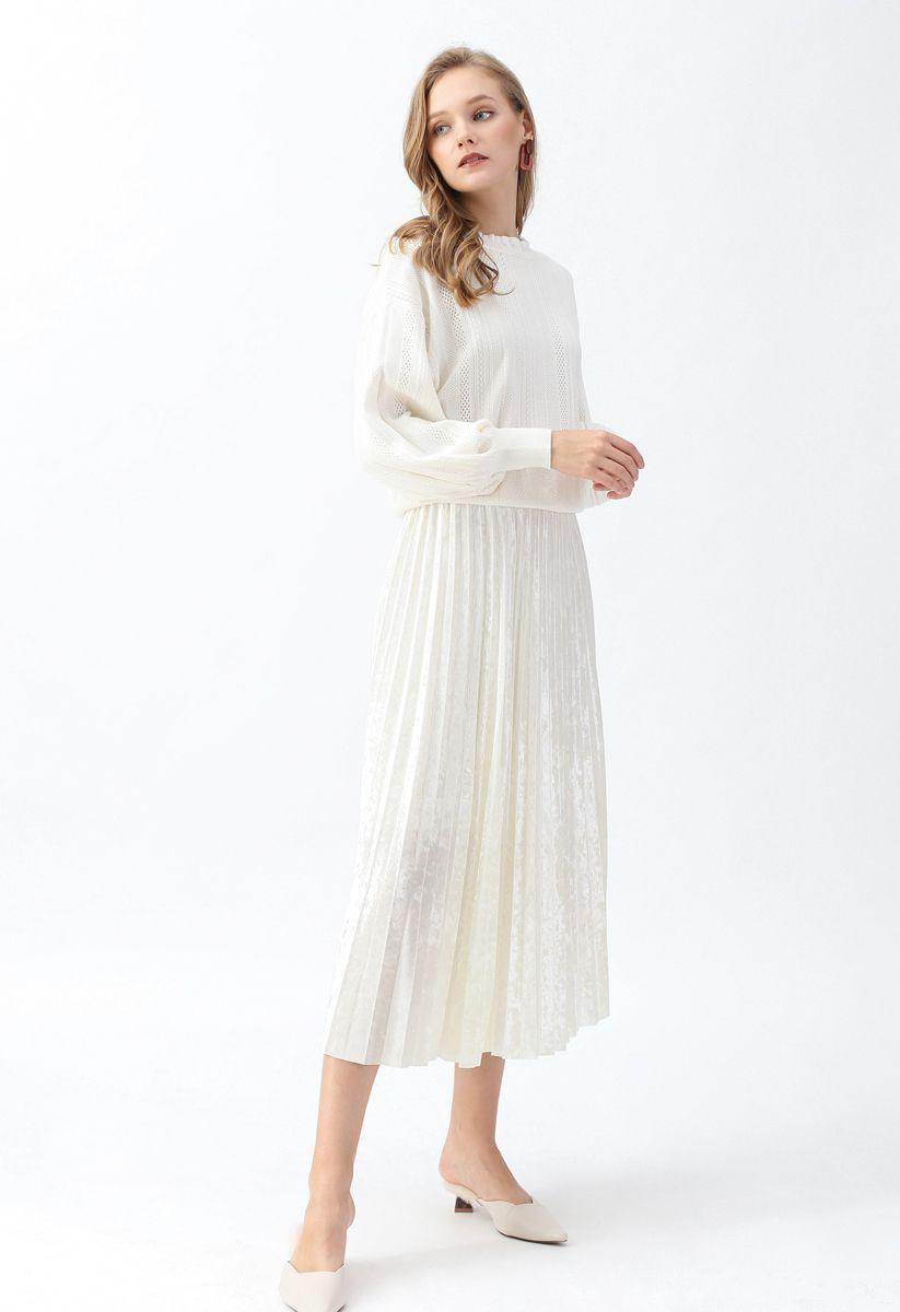 Eyelet Trim Frilling Neck Knit Sweater in White