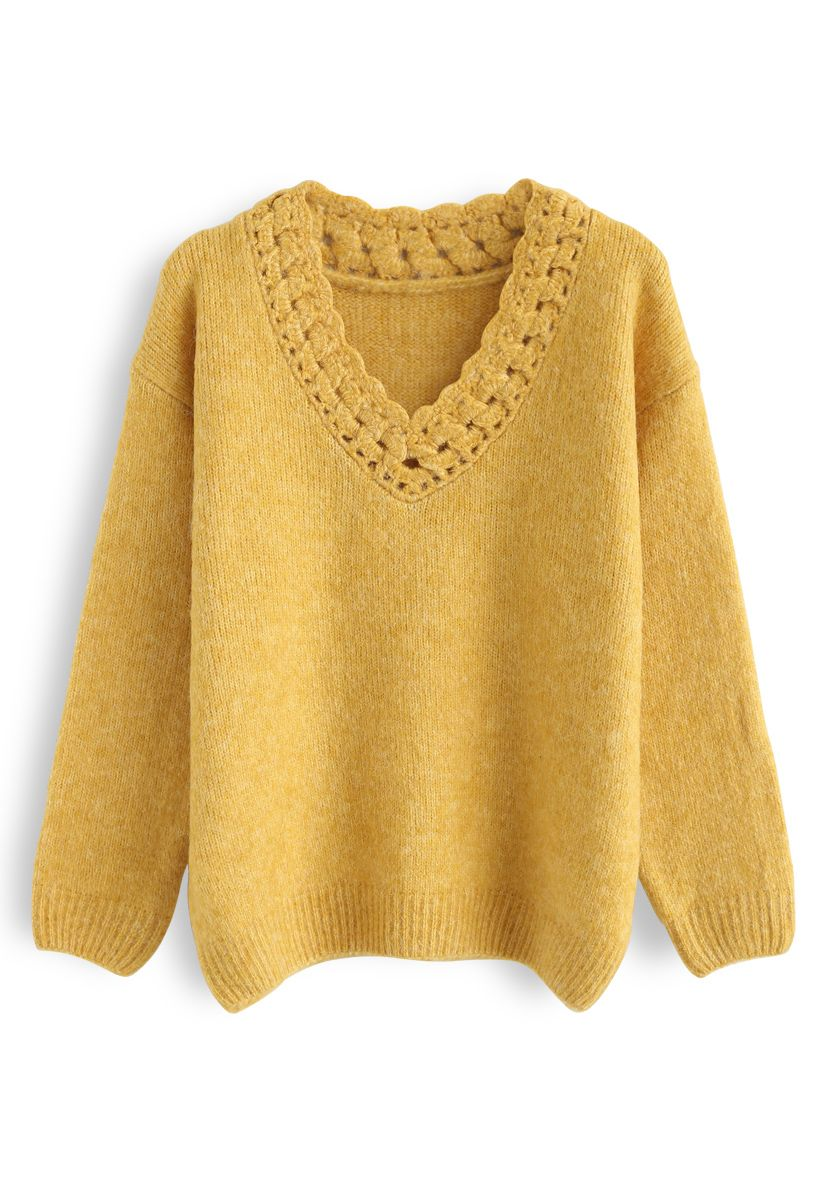 Twist Hollow Out V-Neck Fluffy Sweater in Mustard