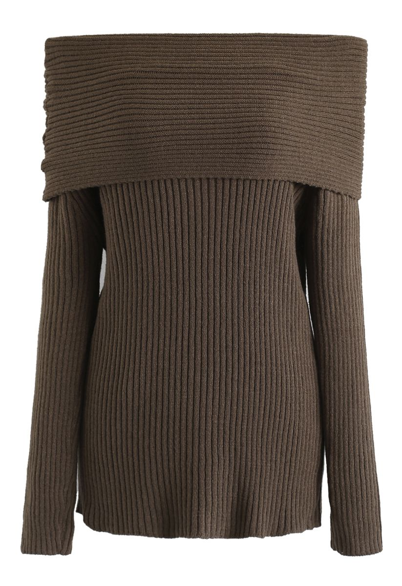 Off-Shoulder Ribbed Knit Sweater in Brown