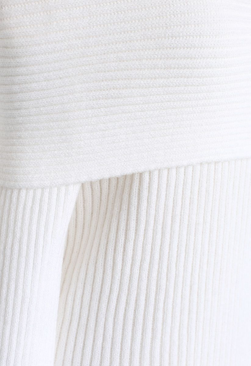 Off-Shoulder Ribbed Knit Sweater in White