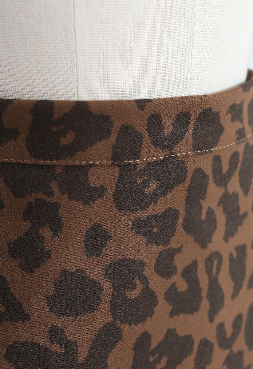 Leopard Print Zipper Mini Skirt in Brown