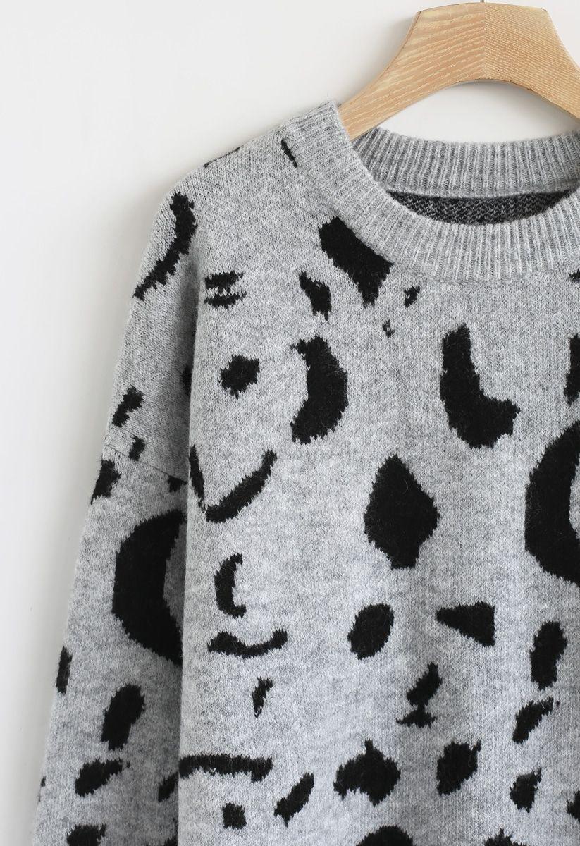 Inky Pattern Loose Knit Sweater in Grey