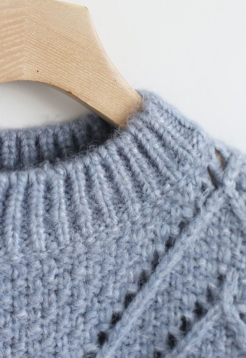 Diamond Hollow Out Oversized Knit Sweater in Blue