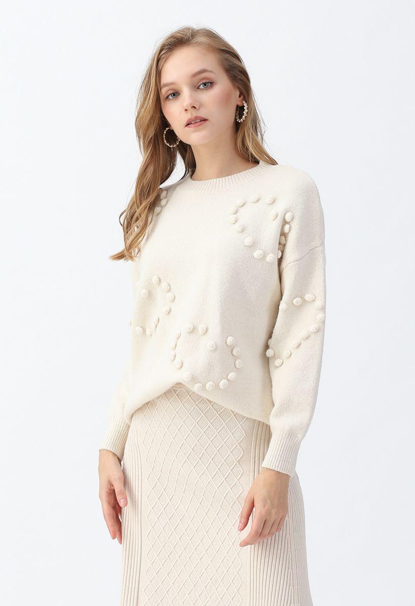 Pom-Pom Embellished Knit Sweater in Ivory