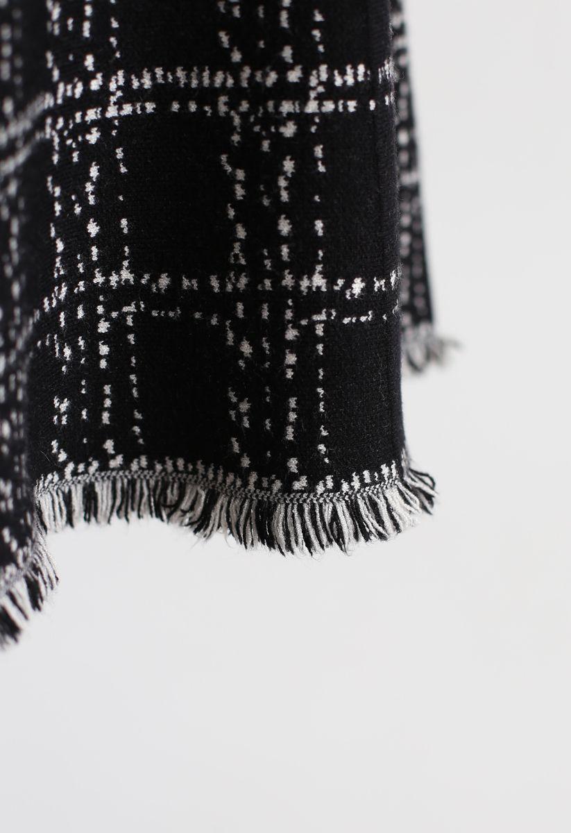 Check Tassel Hem Knit Midi Skirt in Black