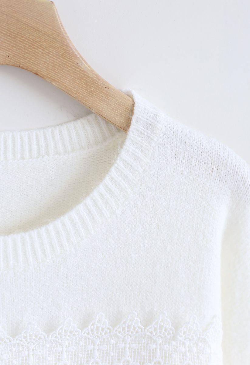 Slit Rolled Hem Crochet Trim Knit Sweater in White