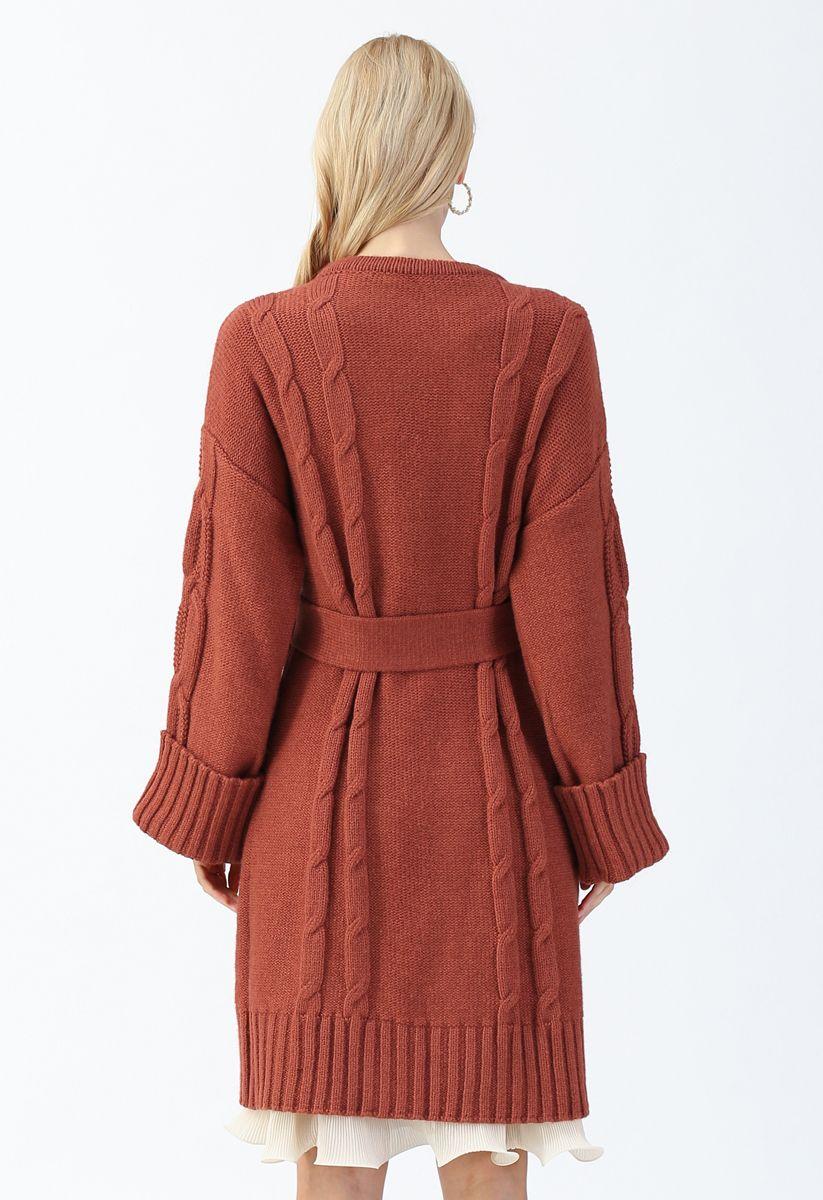 Braid Texture Belted Longline Cardigan