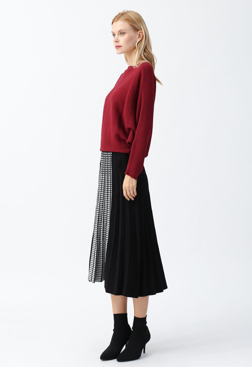 Houndstooth Detail Pleated Knit A-Line Midi Skirt