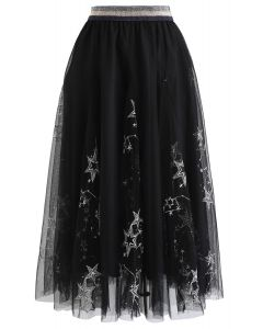 Sequined Embroidered Star Mesh Tulle Skirt in Black