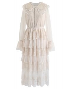 Lace Tiered Mesh Maxi Dress in Cream