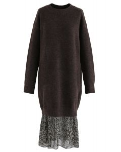 Fake Two-Piece Soft Knit Shift Dress in Brown