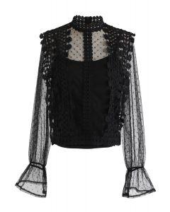 Floral Crochet Mesh Top in Black