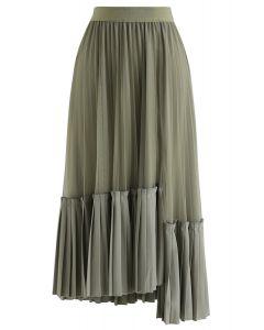Mesh Asymmetric Hem Pleated Midi Skirt in Olive