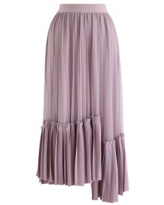 Mesh Asymmetric Hem Pleated Midi Skirt in Lilac