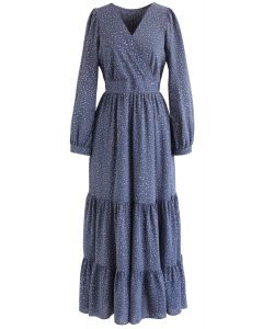Spots Printed Ruffle Wrap Maxi Dress in Blue