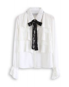 Sequined Bowknot Lace Pleated Chiffon Top in White