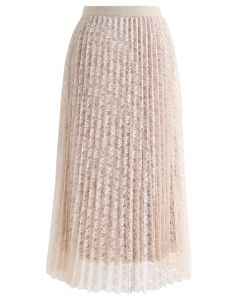 Reversible Floral Mesh Pleated Midi Skirt in Cream