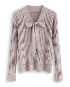 Bowknot V-Neck Shimmery Knit Top in Lilac