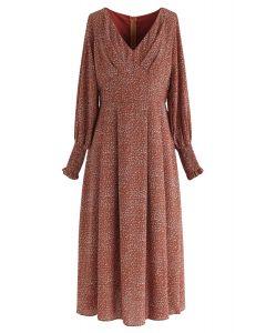 Floret V-Neck Chiffon Dress in Caramel