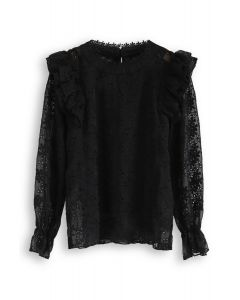 Eyelet Detail Floral Embroidered Ruffle Top in Black