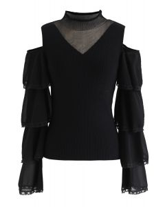 Cold-Shoulder Spliced Ribbed Knit Top in Black